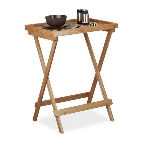 Relaxdays Tabletttisch Bambus H x B x T: ca. 66 x 50 x 38,5 cm Beistelltisch mit Tablett für Frühstück, Klapptisch als Serviertisch, Serviertablett, natur -