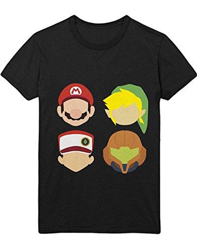 T-Shirt Poke Go Mario Link Zelda Metroid Samus C210006 Schwarz (Samus Metroid Kostüm)
