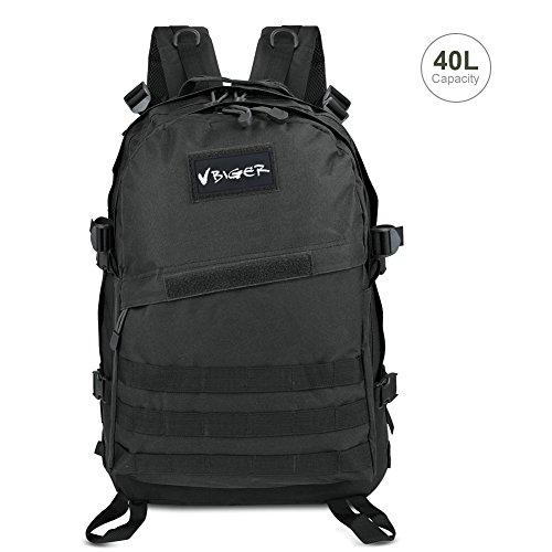 Vbiger impermeabile zaino tattico 40 litri per trekking / militare / alpinismo / arrampicata (nero)