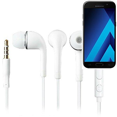 In Ear headphones para Samsung Galaxy A5 (2017), con micrófono + control de volumen, blanco   3.5mm auriculares micrófono omnidireccional, Studs auriculares auriculares estéreo sonido grave universal de control de volumen de los auriculares aplicación