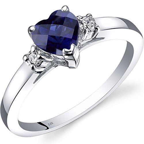 Revoni 14ct White Gold Created Sapphire Diamond Heart Ring 1.00 Carat