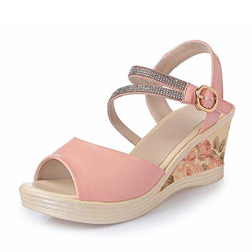 L@YC Pente Des Femmes avec Des Sandales Cuir avec une Plate Forme étanche épaisse et étanche avec Des Chaussures à Talons Hauts Bouche De Poisson pink