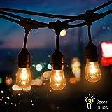 Tomshine Guirlande lumineuse d'extérieur avec 9 ampoules E27 en tungstène 3 ampoules de rechange IP65 étanche pour fête d'anniversaire, mariage, bar ouvert