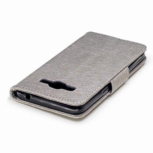 Yiizy Samsung Galaxy J2 Prime / G532M / G532F / G532G Custodia Cover, Fiore Di Farfalla Design Sottile Flip Portafoglio PU Pelle Cuoio Copertura Shell Case Slot Schede Cavalletto Stile Libro Bumper Pr Grigio