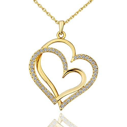 Onefeart Vergoldet Anhänger Halskette Für Frauen,Liebe Herz Weiß Zirkonia Rhinestones Rolo Kette