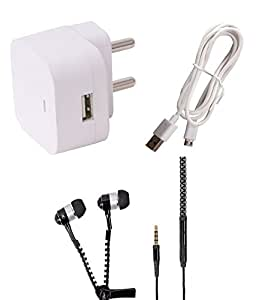 Lenovo A800 Wall Charger, Charging/SYNC Cable & Black Zipper Headphones by Dhhan