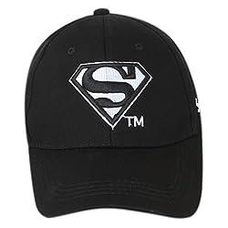 Superman Black White Cap Mens Snapback Cap Womens Baseball Cap(Black)