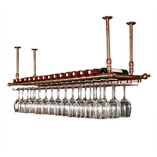 LYN-UP Weinregal, Deckenhalterung hängen Weinhalter Retro Höhenverstellbar Weinflasche Becher Stemware Rack (Color : Bronze, Size : 120 * 30cm) -