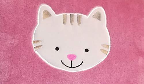 Kinder Reisedecke Kuscheldecke Kissen Verwandlungskissen 2 in 1 Rosa Katze Oeko-Tex -
