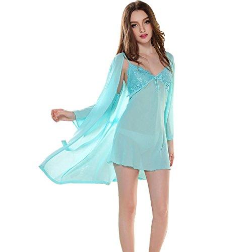 Glield Femmes chemise de nuit 2 Pieces Set Super-fin dentelle Lingerie Robe pyjama SY03 blue