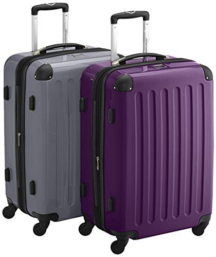 HAUPTSTADTKOFFER - Alex - 2er Koffer-Set Hartschale glänzend, TSA, 65 cm, 74 Liter, Aubergine-Silber Aubergine-Silber