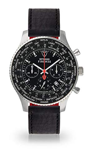 DETOMASO Firenze XXL Herren-Armbanduhr Chronograph Analog Quarz Silbernes Edelstahl-Gehäuse Schwarzes Zifferblatt (Leder - Schwarz)