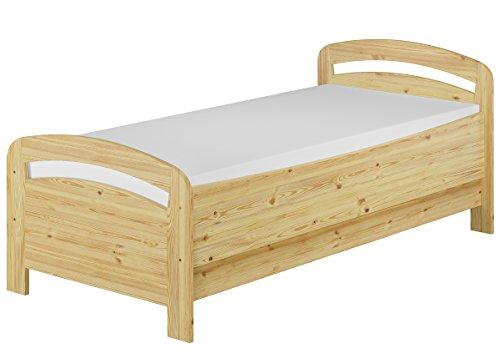Erst-Holz® Seniorenbett Extra hoch 90x200 Matratze Rollrost Kiefer Bett Massivholz Holzbett 60.43-09 M