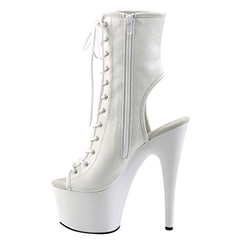 Pleaser Damen Adore-1016 Stiefel Wht Faux Leather/Wht