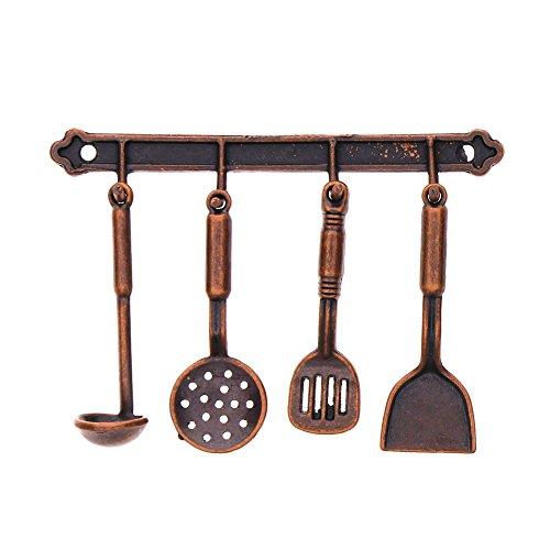 rungao 5x 1/12Puppenhaus Kochen zum Aufhängen Utensilien Werkzeug Küche Spielzeug coffee