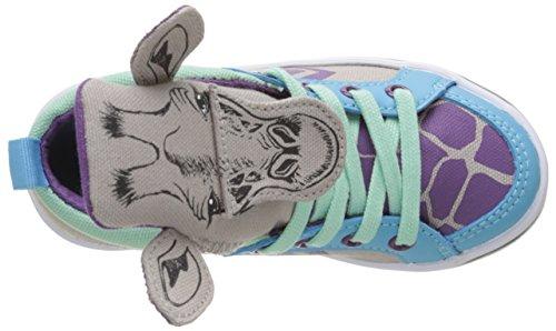 Feiyue Delta Mid Animal, Baskets Hautes Mixte Enfant Multicolore (Grey/Blue/Purple/Mint)