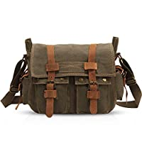 FANDARE Unisex Messenger Bag Canvas Satchel College Bag Outdoor Travel Bookbag Commute Work Shoulder Bag 14 inch Laptop Crossbody Bag for Men/Women ArmyGreen
