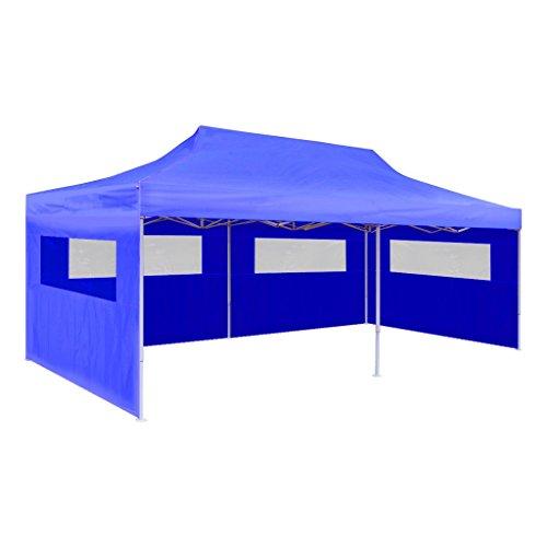 Anself Partyzelt Gartenzelt mit 3 Seitenteilen 6 x 3 x 3,15 m Blau