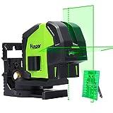 Huepar 8211G Kreuzlinienlaser mit 2 Laserpunkte, Grüner Laser Level mit Pulsfunktion und Lotfunktion, Umschaltbar Selbstnivellierenden Punkt- und Kreuzlinien-Laser, 25m Arbeitsbereich
