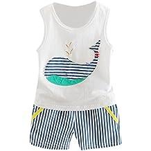 Vovotrade Bebé Suave Algodon recién nacido Sin mangas Impreso Ballena Camiseta del chaleco + Trajes de