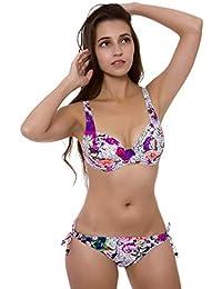 618c684efe18 Easy Go Shopping Costumi da bagno per donna Low Cut con stringhe regolabili  e fantasia stampata Sexy Bikini a vita…