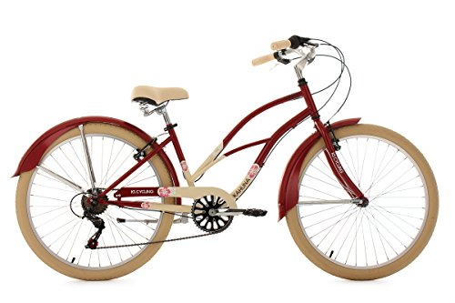 KS Cycling Damen Fahrrad Beachcruiser Kahuna, rot-beige, 26, 762B