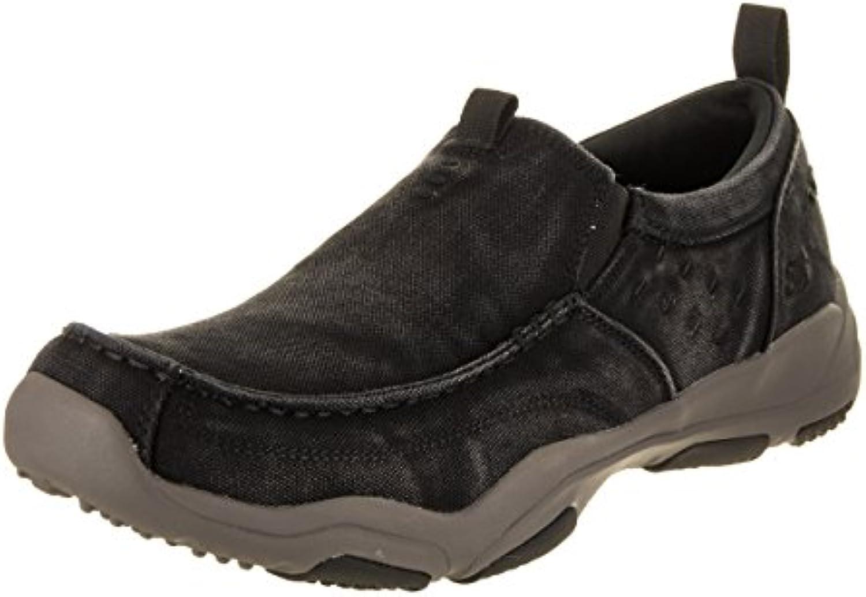 Skechers Hombres Larson Bolten Slip-On, Negro/Carbón, US 8 M