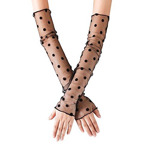 JIAHG Damen Kühlung Arm Ärmel UV-Sonnenschutz Stulpen Mädchen Anti-Rutsch Armstulpe Sportstulpe für Radfahren Laufen Golf Reise Einkaufen L:48cm