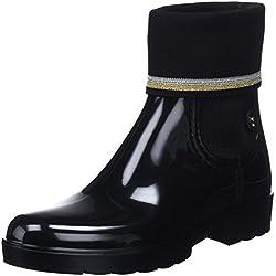 Tommy Hilfiger Knitted Sock Rain Boot, Botas de Agua para Mujer, Negro (Black 990), 39 EU