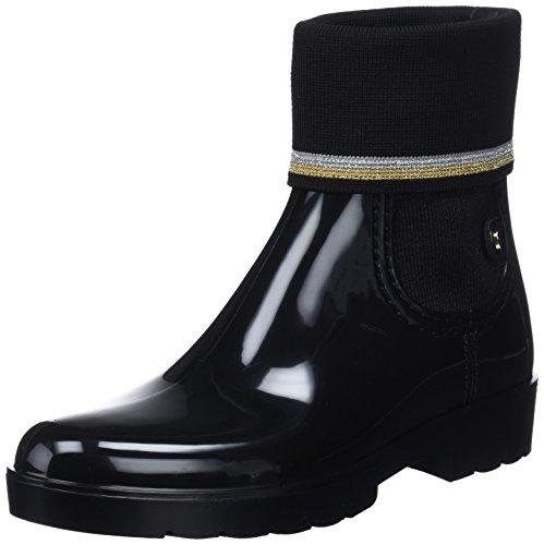 Tommy Hilfiger Damen Knitted Sock RAIN Boot Gummistiefel, Schwarz (Black 990), 38 EU