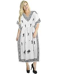 La Leela damas de rayón suave kimono bordado a mano 5 1 ropa de playa loungewear noche casuals túnica traje de baño encubrir vacaciones larga túnica caftán suelta el vestido maxi de la mujer blanca