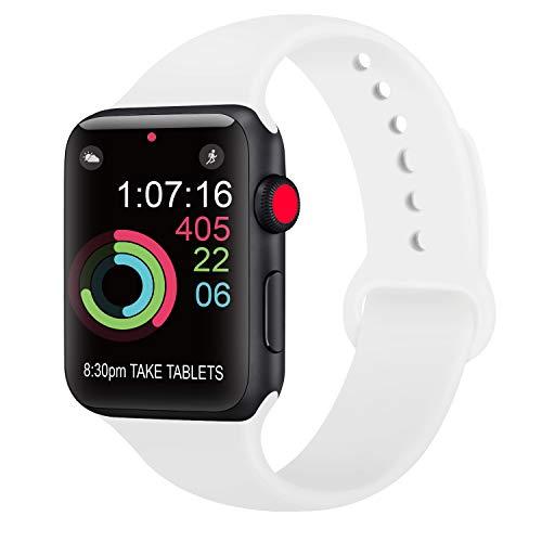 AK kompatibel Apple Watch Armband 42mm 38mm 44mm 40mm, Weiche Silikon Sport Ersatz Armband kompatibel iWatch Series 4, Series 3, Series 2, Series 1 S/M M/L (05 Weiß, 38/40mm S/M)