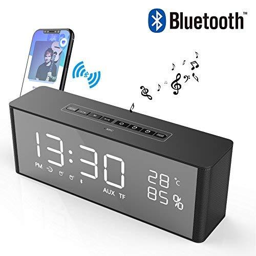 Radio Réveil Bluetooth Haut-Parleur Son Surround 360° Enceinte Bluetooth à LED Luminosité...