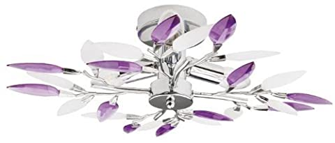 Plafonnier avec feuilles décoratives pour salon ou salle à manger lustre Blanc Violet