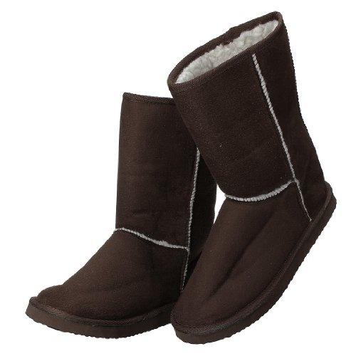 Women Lady Girl Winter Warm Faux Suede Fur Lined Mid-calf Snow Flat Boots Shoes