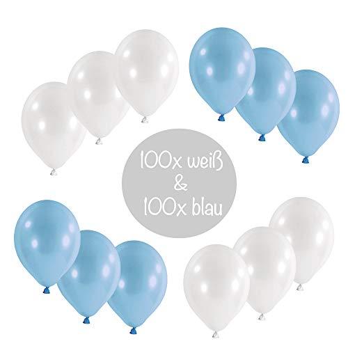 L+H 200x Luftballons blau weiß Oktoberfest|Hochwertige Blaue & weiße Ballons|Oktoberfestdeko Bayrisches Fest Bayern Party Bayrische Wiesen Wiesn Deko Dekoration bayrisch Cannstatter Wasen Partyballon (Und Blaue Luftballons Weiße)