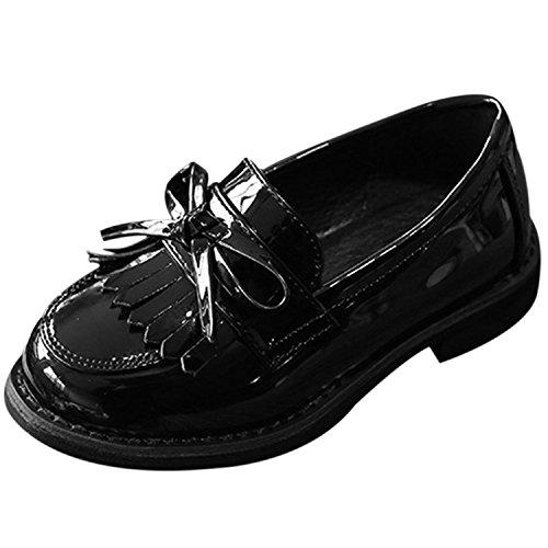 Oasap Mädchen Rund Franse Ohne Verschluss Oxford Schuhe Black