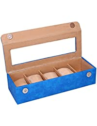 Essart PU Leather Watch Organiser Box for 5watches-Blue