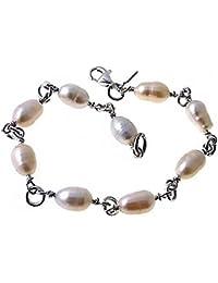 90c59bbb96 Legge comunione 925m braccialetto d'argento 18 centimetri. manici di perle  combinato [AB6175