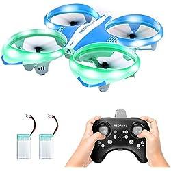 Redpawz Drone à LED pour Enfants, Drone interactif Infrarouge à la Main avec Mode de défilement / Avion quadricoptère RC à Mouche / atterrissage sans clé, Mode 3 Vitesses avec 2 Batteries
