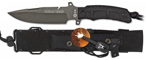 Cuchillo RUI K25 31830. Mango de SFL y revestido de caucho. Hoja de Acero Inox y baño de Titanio. Tamaño total 28 cm. Incluye pedernal y funda nylon