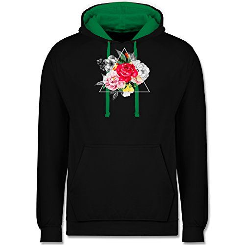 Boheme Look - Blumen in Dreieck - Kontrast Hoodie Schwarz/Grün