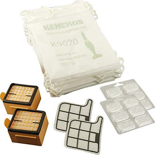12 Staubsaugerbeutel Microvlies + 2 Hepafilter + 2 Motorschutzfilter + 12 x Duft geeignet für Vorwerk - Kobold 135 / 136 / 135SC / VK135 / VK136