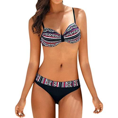 Riou Bikini Mujer Push-up con Relleno Split Estampado Vintage de Traje de baño Bikinis Tirantes Traje...