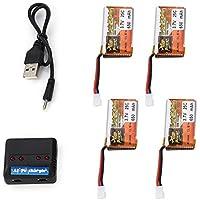 4pcs ZOP Poder 3.7V 650mAh 25C Lipo 1S batería Recargable con 4 en 1 Cargador USB de la batería para RC Racing Car Drone Helicopter