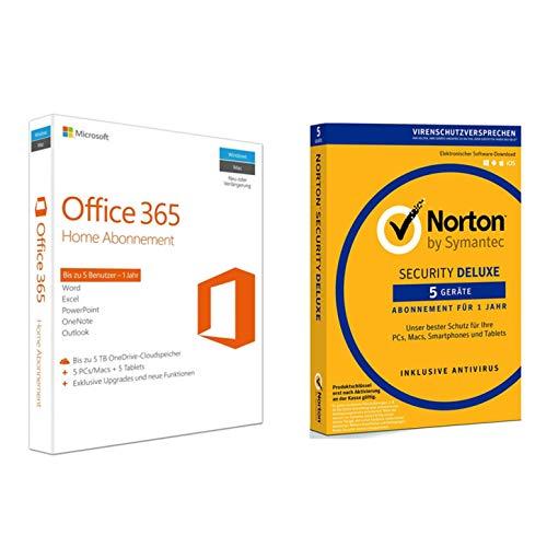 Microsoft Office 365 Home | 5 Geräte  + Symantec Norton Security Deluxe |5 Geräte (Software 365 Norton)
