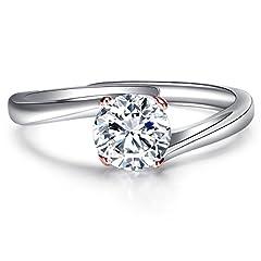 Idea Regalo - JiangXin Argento 925 Solitare Diamante Simulato Anello di Promessa di Fidanzamento,Oro Rose Bianco Placcato Aprire l'anello di Barretta per le Donne,Gioielli Misura Adattabile