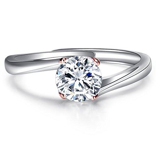 JiangXin Argento 925 Solitare Diamante Simulato Anello di Promessa di Fidanzamento,Oro Rose Bianco Placcato Aprire l'anello di Barretta per le Donne,Gioielli Misura Adattabile