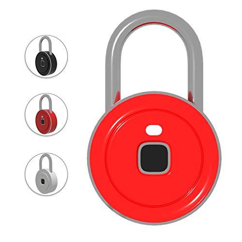 Preisvergleich Produktbild V6 Fingerabdruck-Schloss,  Diebstahlschutz,  tragbar,  schlüssellos,  wasserfest,  ABS,  Smart biometrisches Schloss für Schränke / Fitnessstudio / Taschen / Koffer small rot