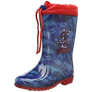 PERLETTI Marvel Avengers Rain Boots for Kids - Avenger Waterproof Wellies Shoes with Anti Slip Outsole - Colored Wellington for Boy with Marvel Heroes - Blue with Red Details (10/11 UK)